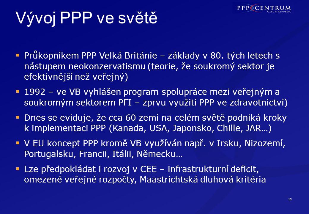 13 Vývoj PPP ve světě  Průkopníkem PPP Velká Británie – základy v 80.