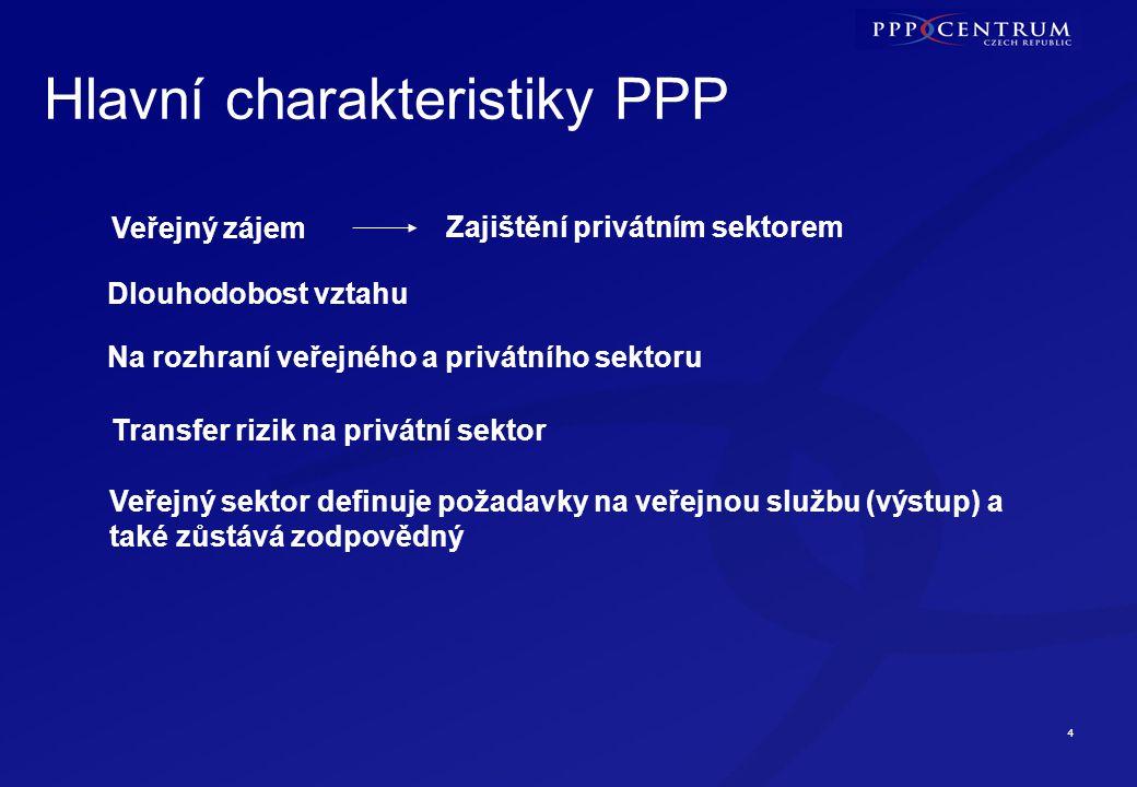 4 Hlavní charakteristiky PPP Veřejný zájem Zajištění privátním sektorem Dlouhodobost vztahu Na rozhraní veřejného a privátního sektoru Transfer rizik na privátní sektor Veřejný sektor definuje požadavky na veřejnou službu (výstup) a také zůstává zodpovědný