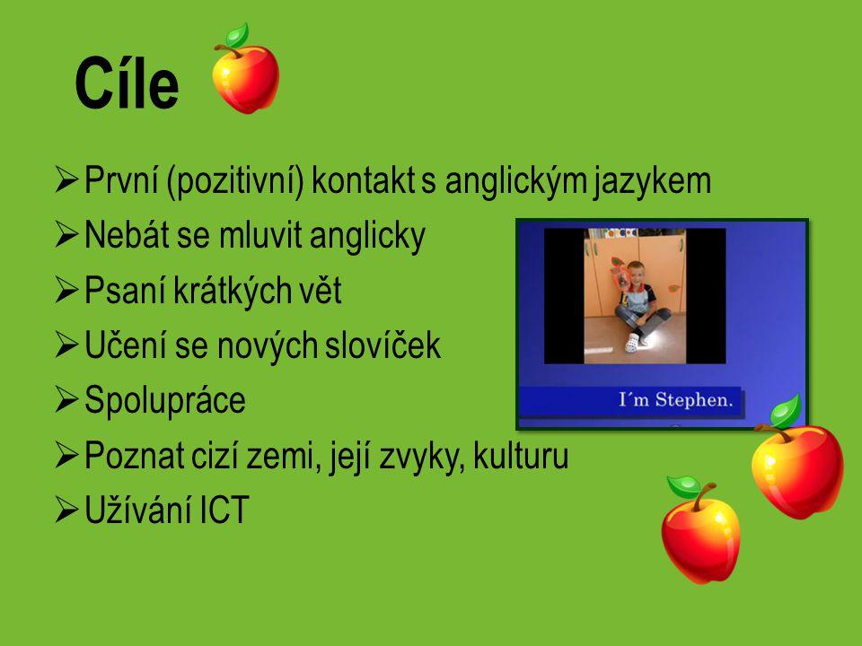 Cíle  První (pozitivní) kontakt s anglickým jazykem  Nebát se mluvit anglicky  Psaní krátkých vět  Učení se nových slovíček  Spolupráce  Poznat