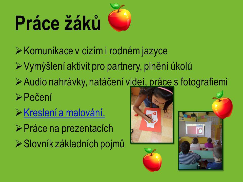 Práce žáků  Komunikace v cizím i rodném jazyce  Vymýšlení aktivit pro partnery, plnění úkolů  Audio nahrávky, natáčení videí, práce s fotografiemi