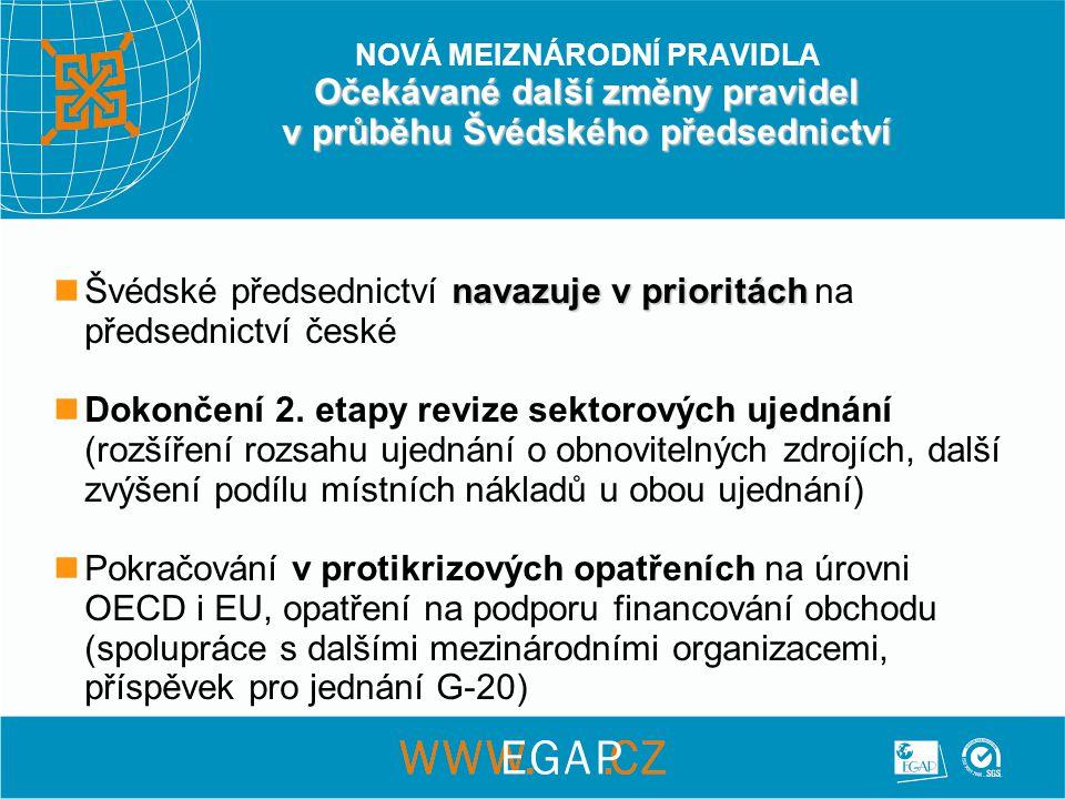 Očekávané další změny pravidel v průběhu Švédského předsednictví NOVÁ MEIZNÁRODNÍ PRAVIDLA Očekávané další změny pravidel v průběhu Švédského předsednictví navazuje v prioritách  Švédské předsednictví navazuje v prioritách na předsednictví české  Dokončení 2.