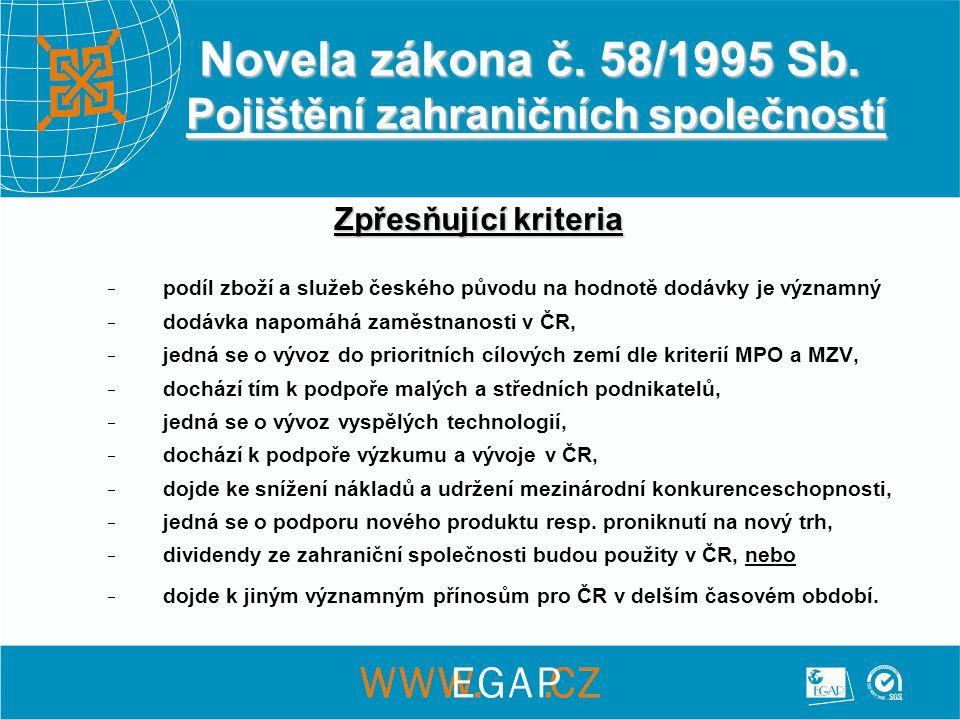 Novela zákona č. 58/1995 Sb.