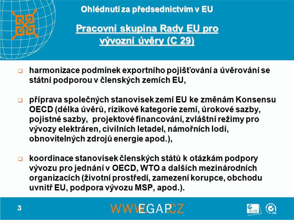3 Ohlédnutí za předsednictvím v EU Pracovní skupina Rady EU pro vývozní úvěry (C 29)  harmonizace podmínek exportního pojišťování a úvěrování se státní podporou v členských zemích EU,  příprava společných stanovisek zemí EU ke změnám Konsensu OECD (délka úvěrů, rizikové kategorie zemí, úrokové sazby, pojistné sazby, projektové financování, zvláštní režimy pro vývozy elektráren, civilních letadel, námořních lodí, obnovitelných zdrojů energie apod.),  koordinace stanovisek členských států k otázkám podpory vývozu pro jednání v OECD, WTO a dalších mezinárodních organizacích (životní prostředí, zamezení korupce, obchodu uvnitř EU, podpora vývozu MSP, apod.).
