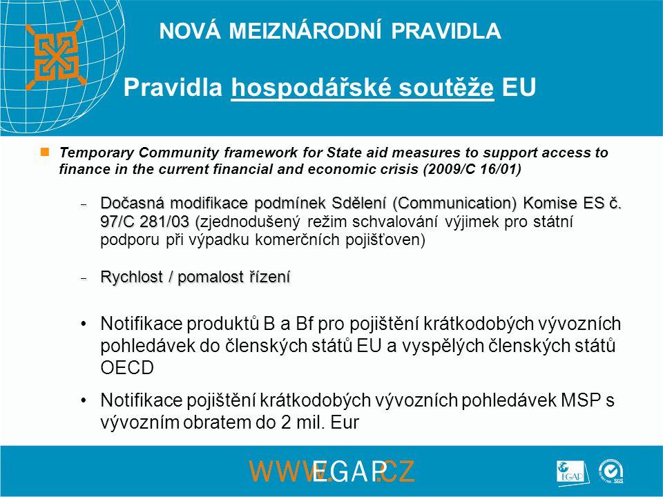 NOVÁ MEIZNÁRODNÍ PRAVIDLA Pravidla hospodářské soutěže EU •Notifikace produktů B a Bf pro pojištění krátkodobých vývozních pohledávek do členských států EU a vyspělých členských států OECD •Notifikace pojištění krátkodobých vývozních pohledávek MSP s vývozním obratem do 2 mil.