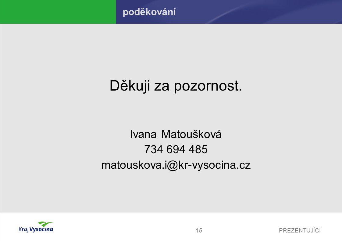 PREZENTUJÍCÍ15 poděkování Děkuji za pozornost. Ivana Matoušková 734 694 485 matouskova.i@kr-vysocina.cz