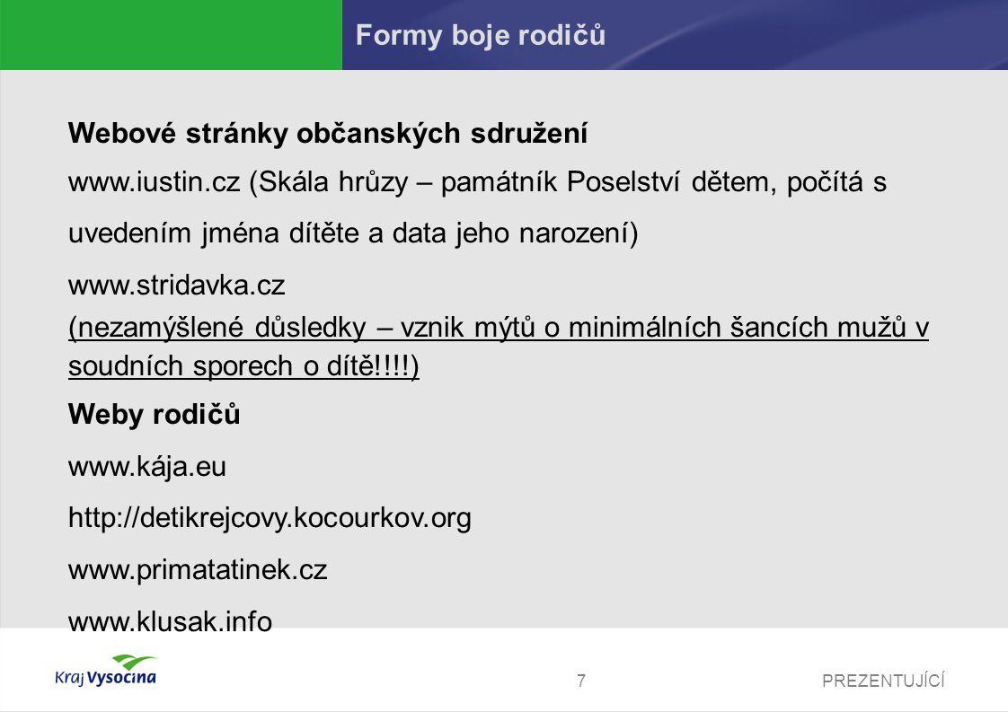 PREZENTUJÍCÍ7 Formy boje rodičů Webové stránky občanských sdružení www.iustin.cz (Skála hrůzy – památník Poselství dětem, počítá s uvedením jména dítě