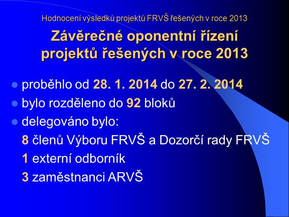 Hodnocení výsledků projektů FRVŠ řešených v roce 2013 Závěrečné oponentní řízení projektů řešených v roce 2013  proběhlo od 28.