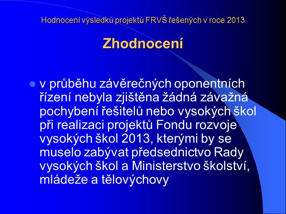 Hodnocení výsledků projektů FRVŠ řešených v roce 2013 Zhodnocení  v průběhu závěrečných oponentních řízení nebyla zjištěna žádná závažná pochybení řešitelů nebo vysokých škol při realizaci projektů Fondu rozvoje vysokých škol 2013, kterými by se muselo zabývat předsednictvo Rady vysokých škol a Ministerstvo školství, mládeže a tělovýchovy