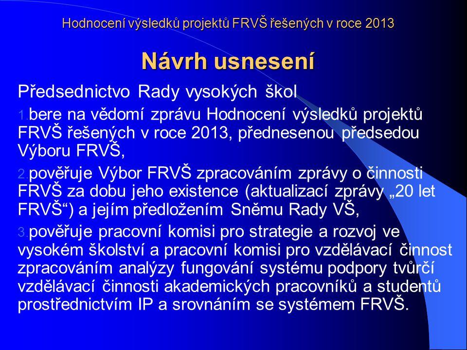 Hodnocení výsledků projektů FRVŠ řešených v roce 2013 Návrh usnesení Předsednictvo Rady vysokých škol 1.