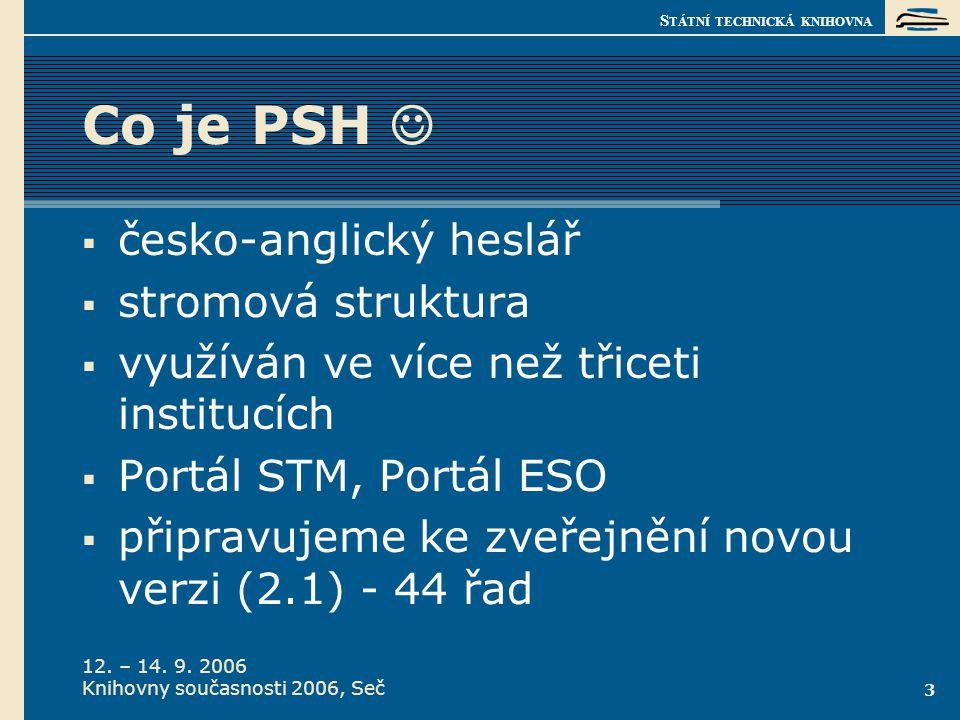 S TÁTNÍ TECHNICKÁ KNIHOVNA 12. – 14. 9. 2006 Knihovny současnosti 2006, Seč 3 Co je PSH   česko-anglický heslář  stromová struktura  využíván ve v