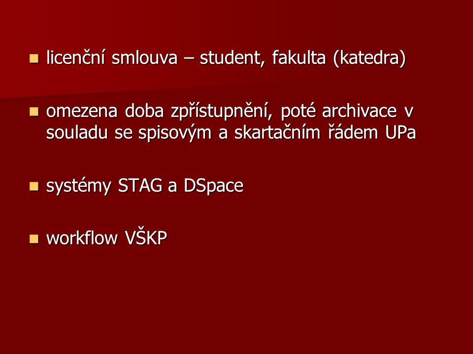  licenční smlouva – student, fakulta (katedra)  omezena doba zpřístupnění, poté archivace v souladu se spisovým a skartačním řádem UPa  systémy STAG a DSpace  workflow VŠKP