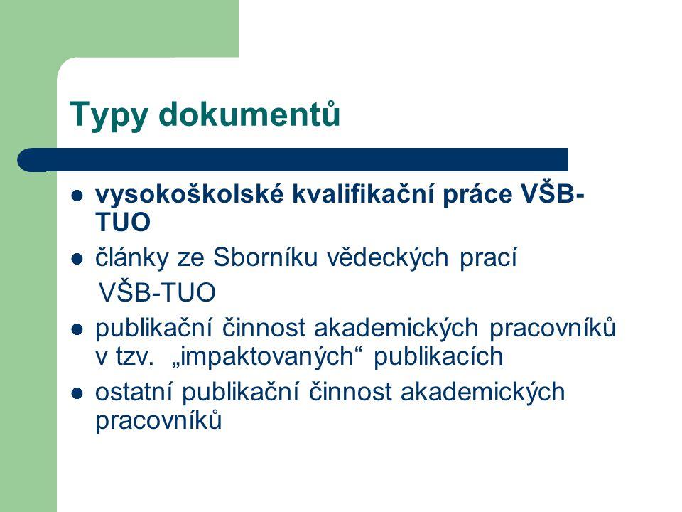 Typy dokumentů  vysokoškolské kvalifikační práce VŠB- TUO  články ze Sborníku vědeckých prací VŠB-TUO  publikační činnost akademických pracovníků v