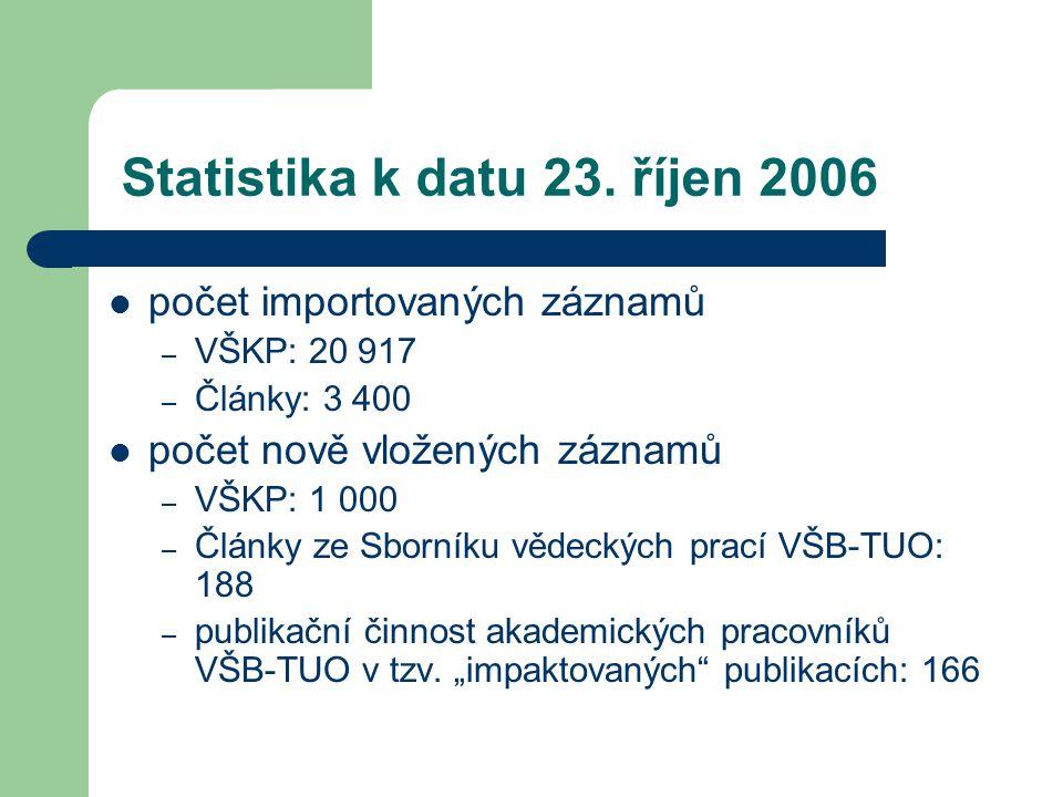 Statistika k datu 23. říjen 2006  počet importovaných záznamů – VŠKP: 20 917 – Články: 3 400  počet nově vložených záznamů – VŠKP: 1 000 – Články ze