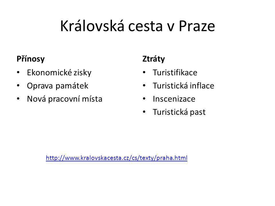 Královská cesta v Praze Přínosy • Ekonomické zisky • Oprava památek • Nová pracovní místa Ztráty • Turistifikace • Turistická inflace • Inscenizace •