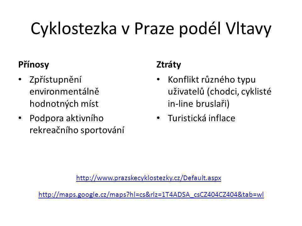 Cyklostezka v Praze podél Vltavy Přínosy • Zpřístupnění environmentálně hodnotných míst • Podpora aktivního rekreačního sportování Ztráty • Konflikt r