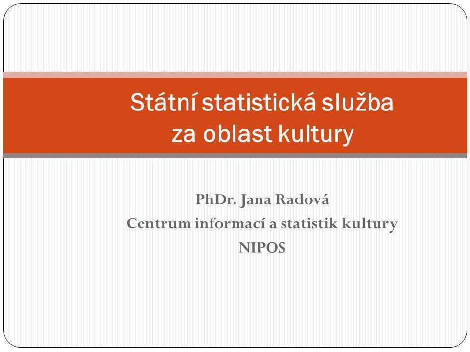 PhDr. Jana Radová Centrum informací a statistik kultury NIPOS Státní statistická služba za oblast kultury
