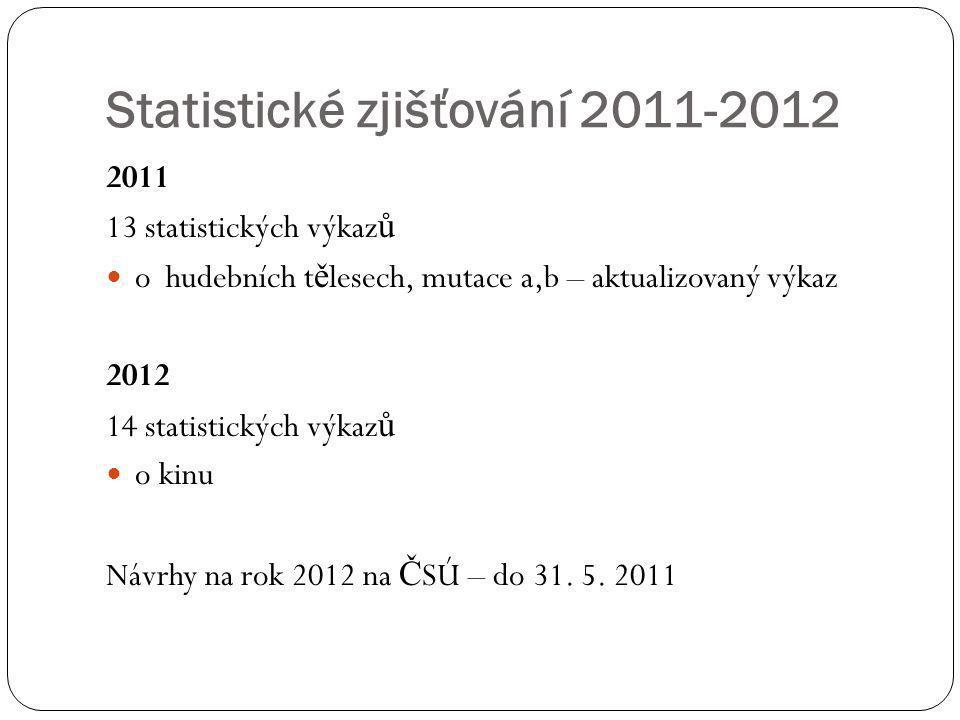 Statistické zjišťování 2011-2012 2011 13 statistických výkaz ů  o hudebních t ě lesech, mutace a,b – aktualizovaný výkaz 2012 14 statistických výkaz
