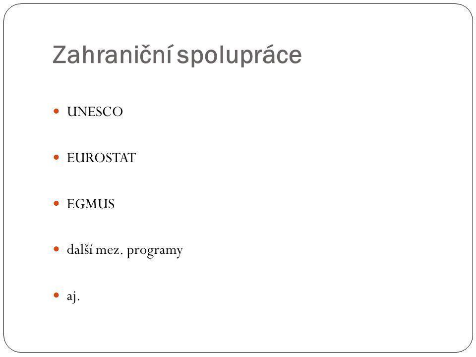 Zahraniční spolupráce  UNESCO  EUROSTAT  EGMUS  další mez. programy  aj.