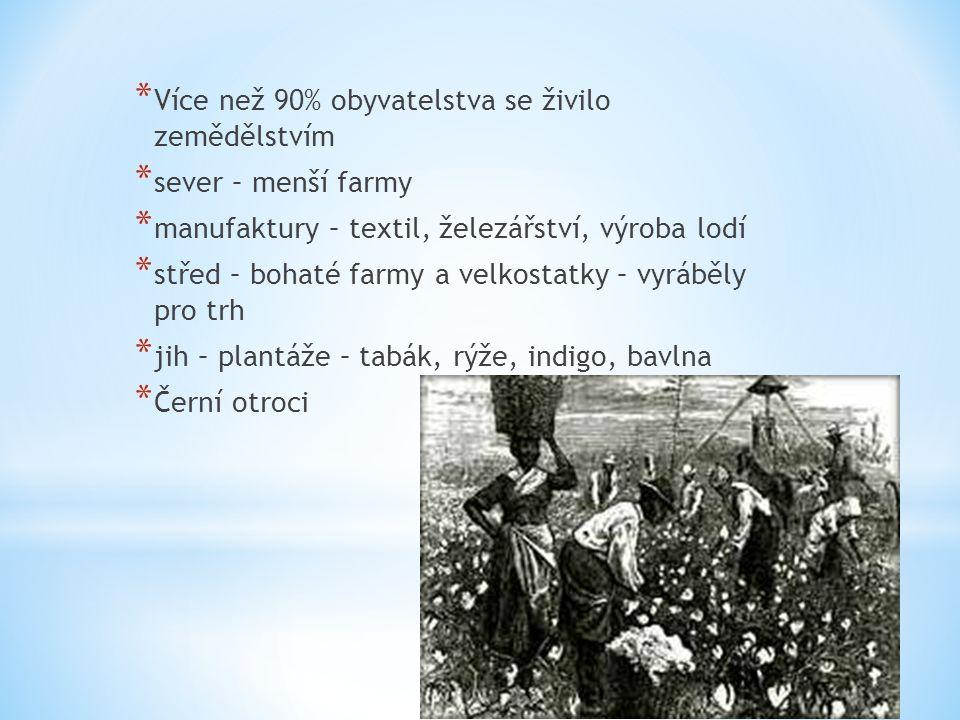 * Více než 90% obyvatelstva se živilo zemědělstvím * sever – menší farmy * manufaktury – textil, železářství, výroba lodí * střed – bohaté farmy a vel