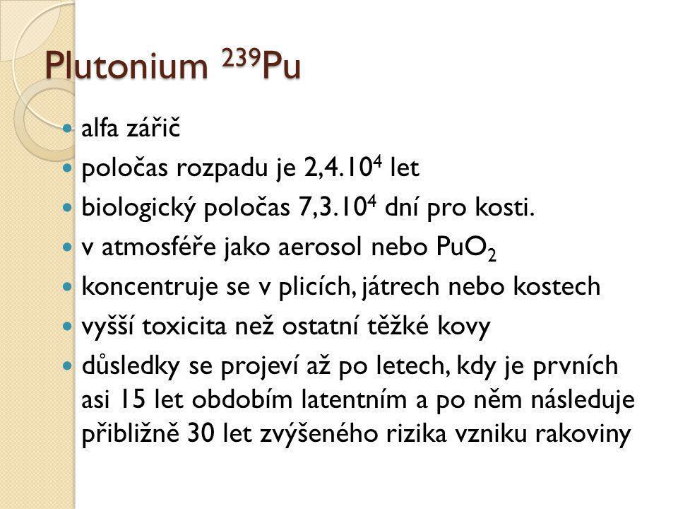 Plutonium 239 Pu  alfa zářič  poločas rozpadu je 2,4.10 4 let  biologický poločas 7,3.10 4 dní pro kosti.  v atmosféře jako aerosol nebo PuO 2  k