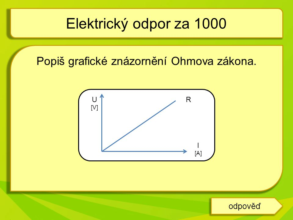 Popiš grafické znázornění Ohmova zákona. Elektrický odpor za 1000 odpověď U [V] I [A] R