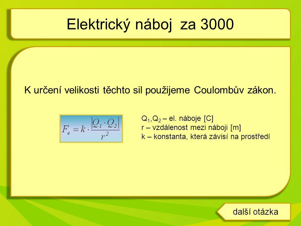 K určení velikosti těchto sil použijeme Coulombův zákon. Q 1,Q 2 – el. náboje [C] r – vzdálenost mezi náboji [m] k – konstanta, která závisí na prostř