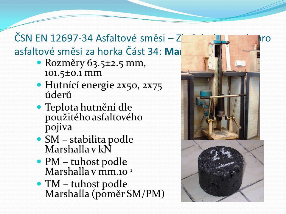ČSN EN 12697-34 Asfaltové směsi – Zkušební metody pro asfaltové směsi za horka Část 34: Marshallova zkouška  Rozměry 63.5±2.5 mm, 101.5±0.1 mm  Hutnící energie 2x50, 2x75 úderů  Teplota hutnění dle použitého asfaltového pojiva  SM – stabilita podle Marshalla v kN  PM – tuhost podle Marshalla v mm.10 -1  TM – tuhost podle Marshalla (poměr SM/PM)