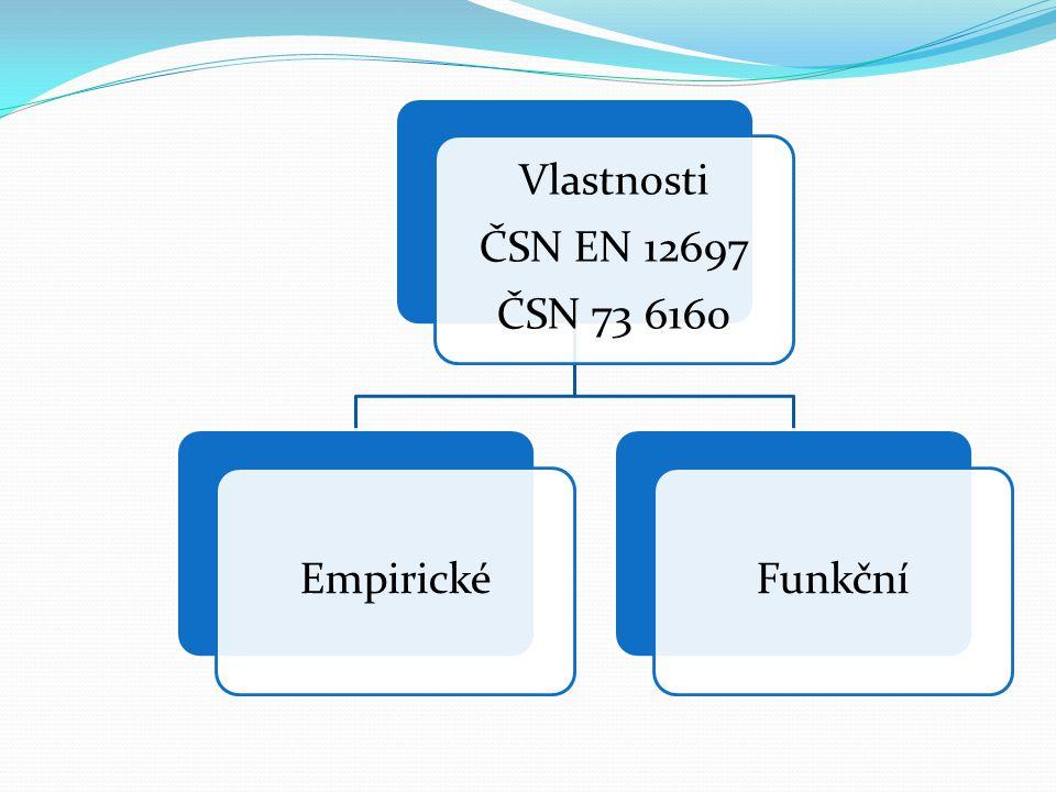 Vlastnosti ČSN EN 12697 ČSN 73 6160 EmpirickéFunkční