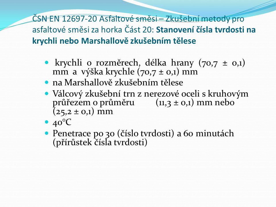 ČSN EN 12697-20 Asfaltové směsi – Zkušební metody pro asfaltové směsi za horka Část 20: Stanovení čísla tvrdosti na krychli nebo Marshallově zkušebním tělese  krychli o rozměrech, délka hrany (70,7 ± 0,1) mm a výška krychle (70,7 ± 0,1) mm  na Marshallově zkušebním tělese  Válcový zkušební trn z nerezové oceli s kruhovým průřezem o průměru (11,3 ± 0,1) mm nebo (25,2 ± 0,1) mm  40°C  Penetrace po 30 (číslo tvrdosti) a 60 minutách (přírůstek čísla tvrdosti)