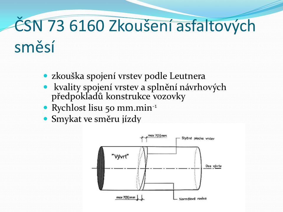 ČSN 73 6160 Zkoušení asfaltových směsí  zkouška spojení vrstev podle Leutnera  kvality spojení vrstev a splnění návrhových předpokladů konstrukce vozovky  Rychlost lisu 50 mm.min -1  Smykat ve směru jízdy