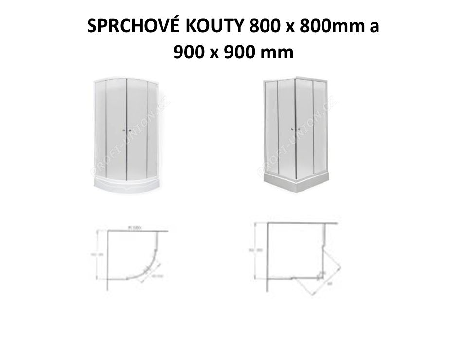 SPRCHOVÉ KOUTY 800 x 800mm a 900 x 900 mm