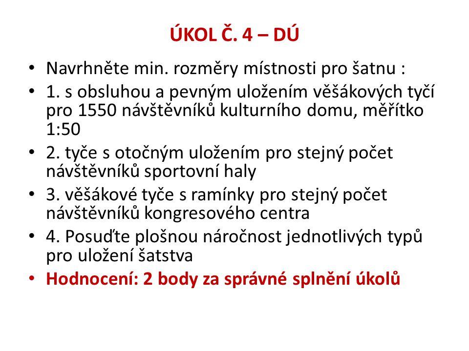 ÚKOL Č. 4 – DÚ • Navrhněte min. rozměry místnosti pro šatnu : • 1. s obsluhou a pevným uložením věšákových tyčí pro 1550 návštěvníků kulturního domu,