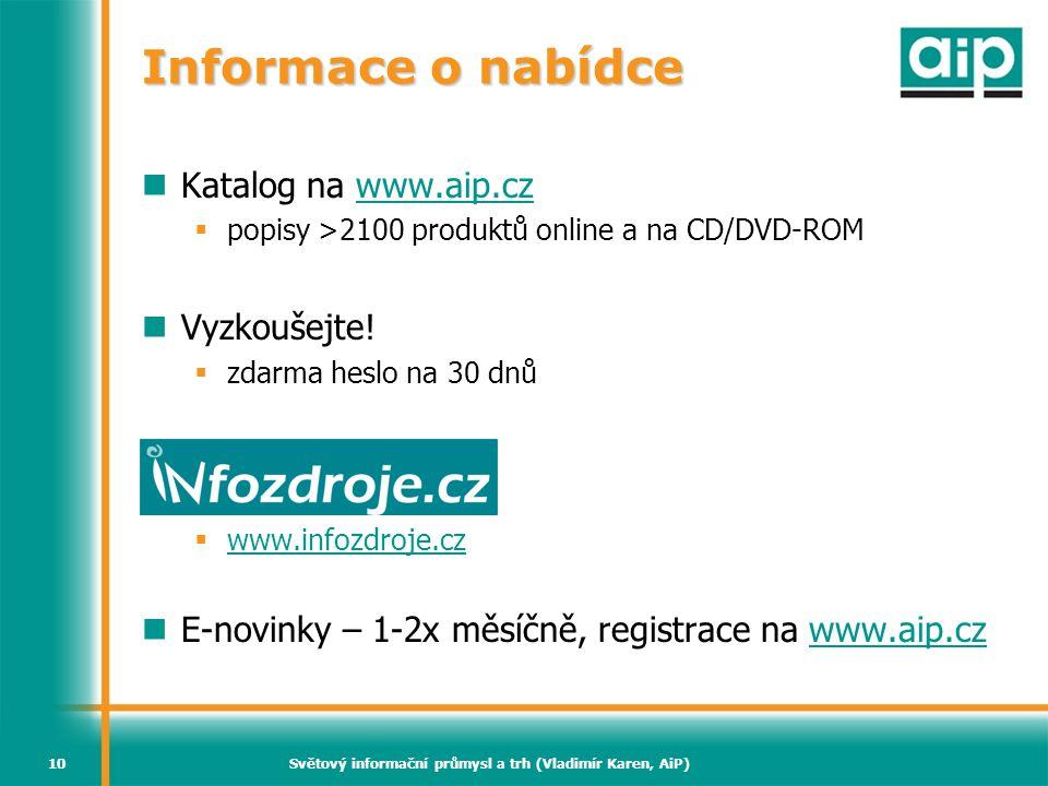Světový informační průmysl a trh (Vladimír Karen, AiP)10 Informace o nabídce  Katalog na www.aip.czwww.aip.cz  popisy >2100 produktů online a na CD/