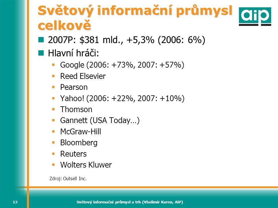 Světový informační průmysl a trh (Vladimír Karen, AiP)13 Světový informační průmysl celkově  2007P: $381 mld., +5,3% (2006: 6%)  Hlavní hráči:  Goo