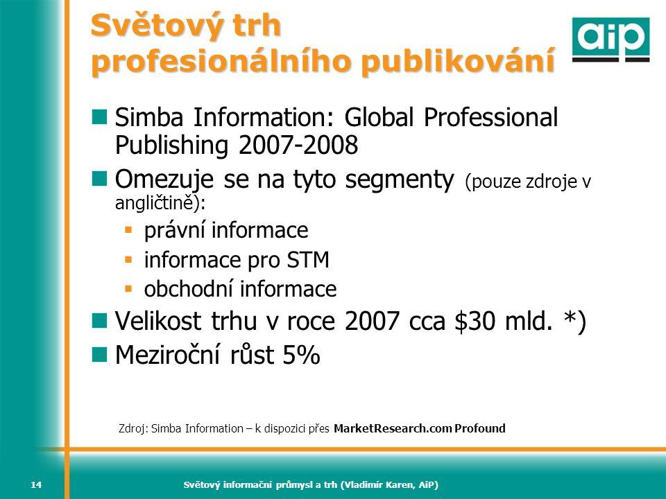 Světový informační průmysl a trh (Vladimír Karen, AiP)14 Světový trh profesionálního publikování  Simba Information: Global Professional Publishing 2