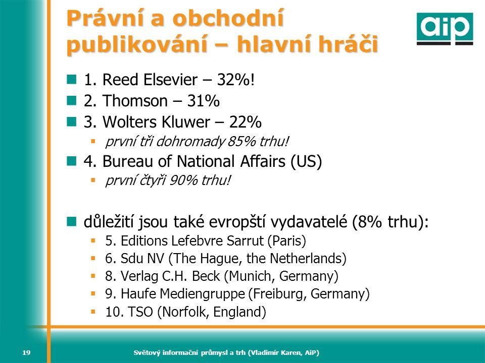 Světový informační průmysl a trh (Vladimír Karen, AiP)19 Právní a obchodní publikování – hlavní hráči  1. Reed Elsevier – 32%!  2. Thomson – 31%  3