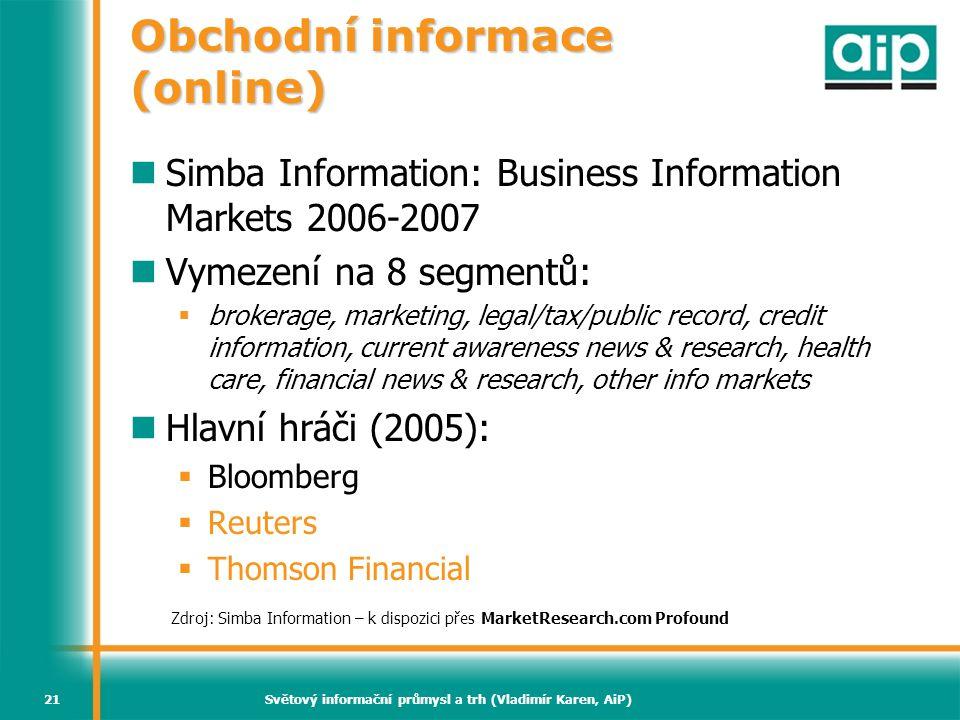 Světový informační průmysl a trh (Vladimír Karen, AiP)21 Obchodní informace (online)  Simba Information: Business Information Markets 2006-2007  Vym