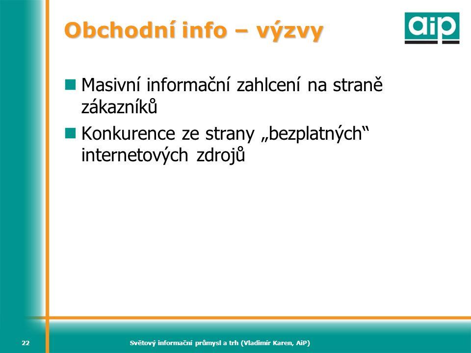 Světový informační průmysl a trh (Vladimír Karen, AiP)22 Obchodní info – výzvy  Masivní informační zahlcení na straně zákazníků  Konkurence ze stran