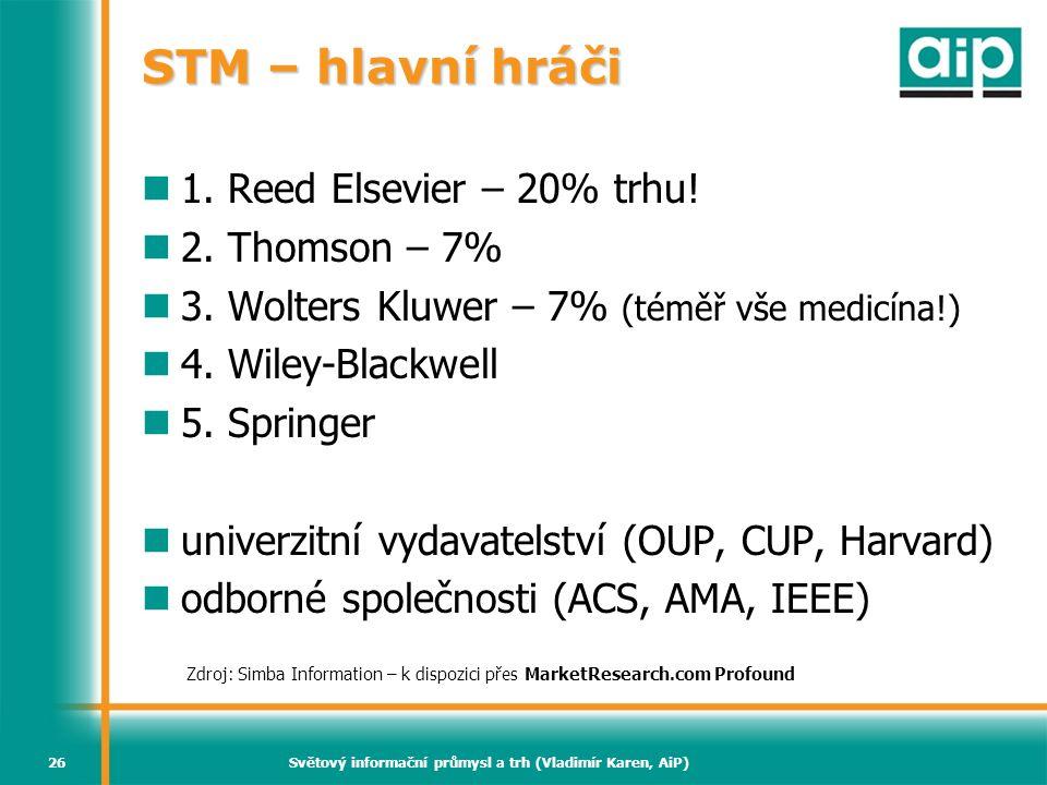 Světový informační průmysl a trh (Vladimír Karen, AiP)26 STM – hlavní hráči  1. Reed Elsevier – 20% trhu!  2. Thomson – 7%  3. Wolters Kluwer – 7%