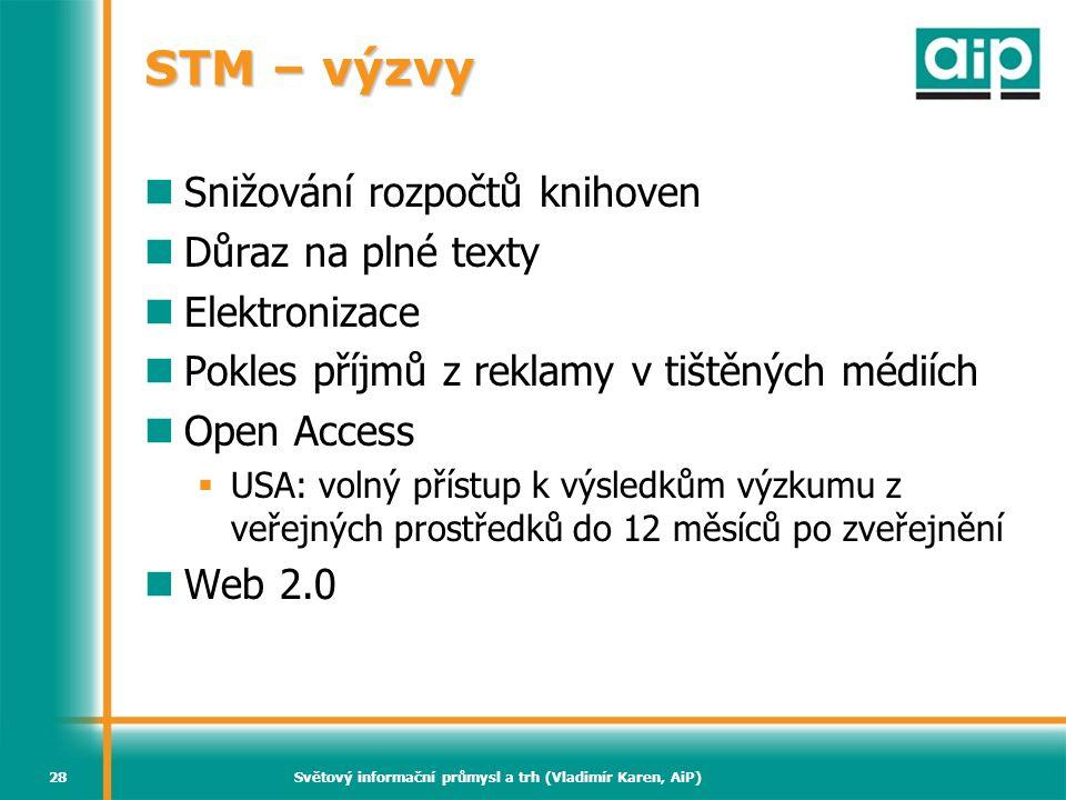 Světový informační průmysl a trh (Vladimír Karen, AiP)28 STM – výzvy  Snižování rozpočtů knihoven  Důraz na plné texty  Elektronizace  Pokles příj