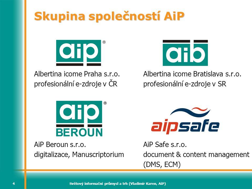 Světový informační průmysl a trh (Vladimír Karen, AiP)4 Skupina společností AiP Albertina icome Praha s.r.o. profesionální e-zdroje v ČR AiP Beroun s.
