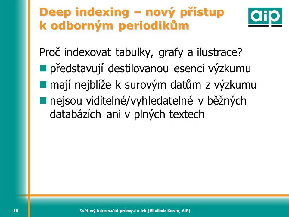 Světový informační průmysl a trh (Vladimír Karen, AiP)40 Deep indexing – nový přístup k odborným periodikům Proč indexovat tabulky, grafy a ilustrace?