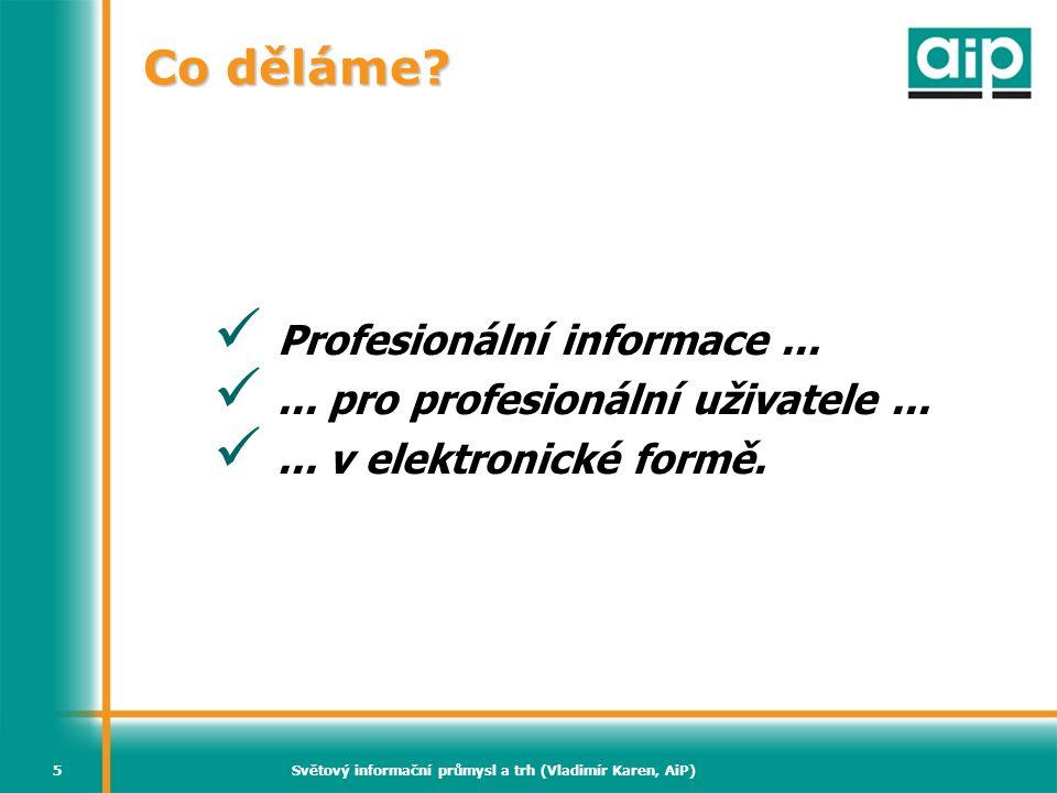 Světový informační průmysl a trh (Vladimír Karen, AiP)16 Světový trh profesionálního publikování (2006)  Knihy (včetně elektronických) 36%  Časopisy (včetně elektronických) 20%  Sekundární zdroje 22%  Adresáře a databáze 10%  Bulletiny a aktualizace 10%  Ostatní 2% Zdroj: Simba Information – k dispozici přes MarketResearch.com Profound