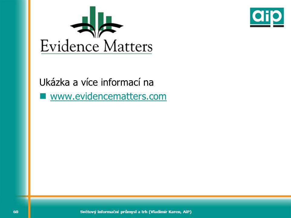 Světový informační průmysl a trh (Vladimír Karen, AiP)60 Evidence Matters Ukázka a více informací na  www.evidencematters.com www.evidencematters.com
