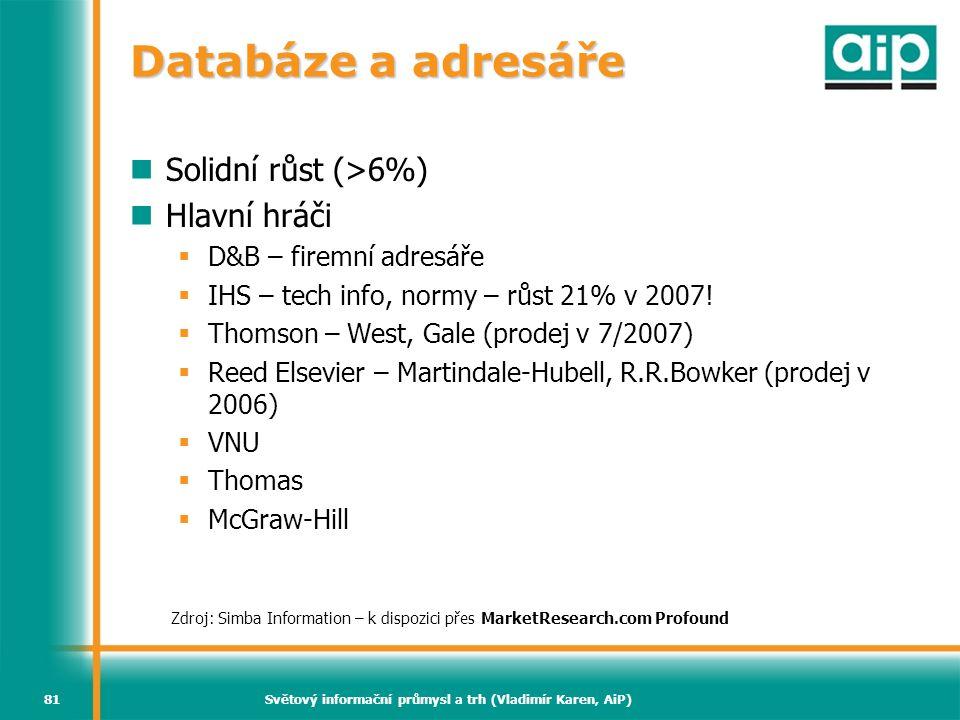 Světový informační průmysl a trh (Vladimír Karen, AiP)81 Databáze a adresáře  Solidní růst (>6%)  Hlavní hráči  D&B – firemní adresáře  IHS – tech