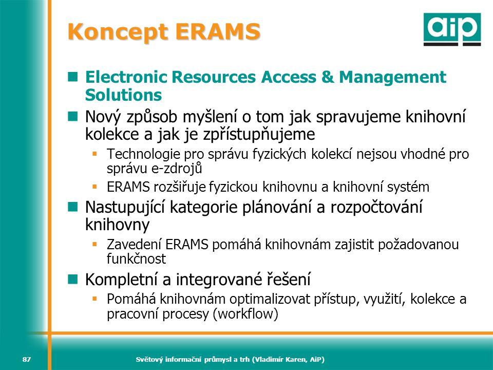 Světový informační průmysl a trh (Vladimír Karen, AiP)87 Koncept ERAMS  Electronic Resources Access & Management Solutions  Nový způsob myšlení o to
