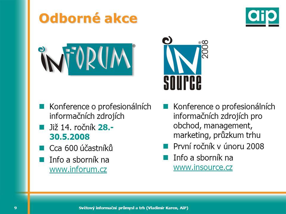 Světový informační průmysl a trh (Vladimír Karen, AiP)9 Odborné akce  Konference o profesionálních informačních zdrojích  Již 14. ročník 28.- 30.5.2