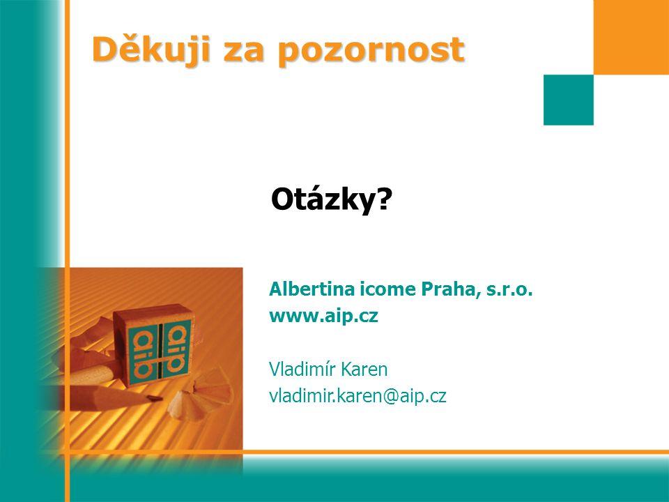 Děkuji za pozornost Otázky? Albertina icome Praha, s.r.o. www.aip.cz Vladimír Karen vladimir.karen@aip.cz