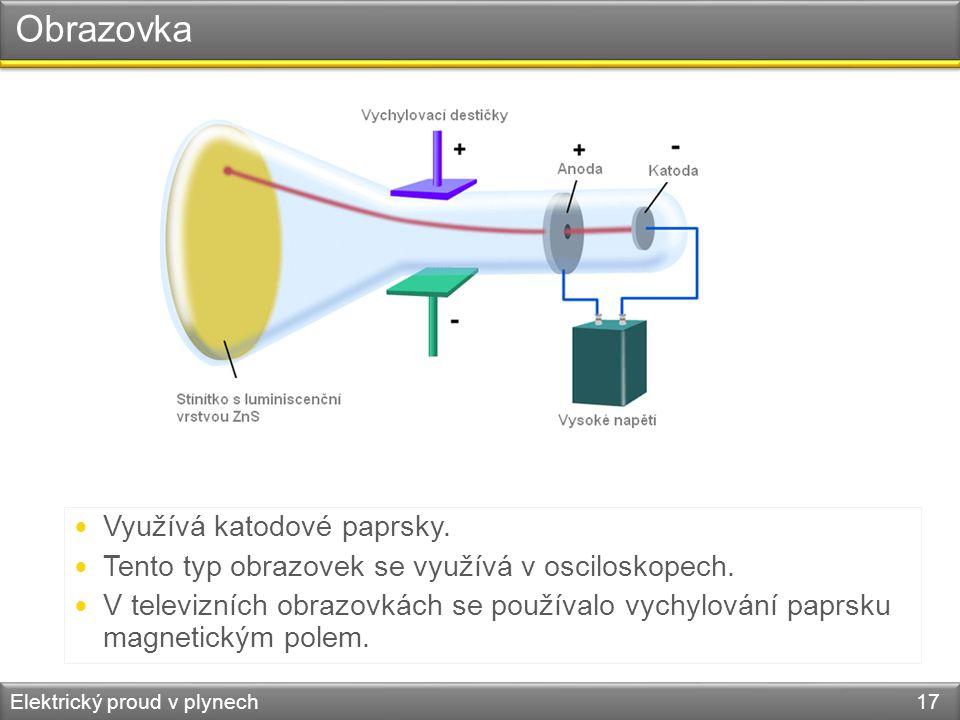 Obrazovka Elektrický proud v plynech 17  Využívá katodové paprsky.  Tento typ obrazovek se využívá v osciloskopech.  V televizních obrazovkách se p