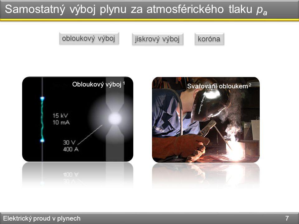 Samostatný výboj plynu za atmosférického tlaku p a Elektrický proud v plynech 7 obloukový výboj jiskrový výboj koróna Obloukový výboj 1 Svařování oblo